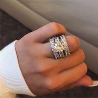 925 esterlina prata anéis de casamento conjunto princesa corte cz para mulheres nupcial aniversário de aniversário de aniversário de aniversário jóias R5993