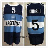 # 5 Manu Ginobili Team Argentina blu navy retrò classicoPallacanestro Jersey Mens cucito numero personalizzato e nome basket