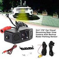 Car Rear View Cameras& Parking Sensors Camera HD Reversing Monitor Waterproof Night Vision Reverse Backup With Radar Sensor