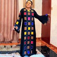 Etnik Giyim Kadınlar Siyah Baskı Afrika Elbiseler Flare Sleeve Müslüman Abayas Gevşek Dubai Kaftan Robe Kadın Maxi Elbise