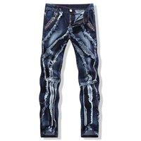 Ginzous الأزياء الخليط خياطة ممزق جينز الرجال شخصية المسامير الجلدية سليم صالح مستقيم كل مباراة قطعة أثرية وسهلة