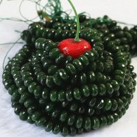 Diğer Doğal Yeşil Malezya Taş Chalcedony Jades 2x4mm 4x6mm 5x8mm Faceted Rondelle Abacus Gevşek Boncuk Takı Yapımı 15 inç B153