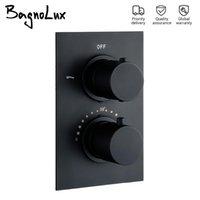 Bagnolux Brass Black Doble Managon Embedded Thermostatic Refrigeración y calefacción Válvula de control de calefacción Baño Grifo de ducha