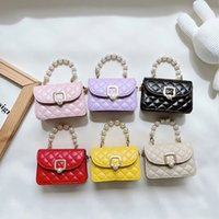 Kids Leather Purses and Handbags Cute Girls Mini Crossbody Baby Small Coin Pouch Bag Children Party Pearl Tote Gift