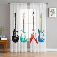Curtain & Drapes Guitar Bass Jazz Music Classic Voile Curtains For Living Room Window Treatment Sheer Bedroom Kitchen