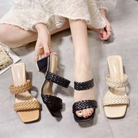 Sandals Summer Women Ladies Shoes Woven Roman Slippers Bohemian National Wind Fashion Comfortable Thick High Heel