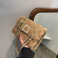 Evening Bags Female Bag 2021 Autumn And Winter Furry Small Square Shoulder Messenger Plush Luxury Designer Handbags Bolsas Feminin