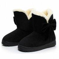 Women Snow Boots Winter Female Ankle Warmer Plush Bowtie Fur Suede Rubber Flat Slip On Fashion Platform Ladies Shoes l4p7#