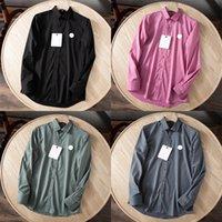 21SS Monclair Vestido para hombre Camisas de lujo para hombre Slim Silk Shirt de manga larga Casual Ropa de negocio formal de ropa de color sólido Tshirt 001