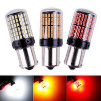 Şeritler 1x 3014 144SMD CANBUS S25 1156 BA15S P21W LED Bay15D Bau15s PY21W Lamba T20 7440 W21W W21 / 5 W Ampuller için dönüş sinyal ışığı
