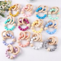 Baby wristband Natural Wooden Silicone Teething Beads Teether Newborn Teeth Practice Toys Food Grade Soother Infant Feeding Kids Chew Toy