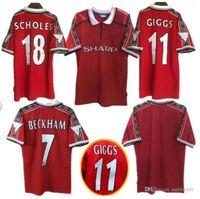 98 99 Samtname Number Mann Beckham Keane Solskjaer Giggs 3 Champions Retro Utd Fussball Jersey 1998 1999 U Classic Vintage Football Shirt