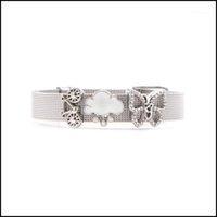 Tennis Bracelets Jewelrytennis Vinnie Design Jewelry 10Mm Stainless Steel Keeper Mesh Bracelet With 3Pcs Slide Charms As Women Gift1 Drop De
