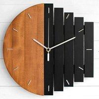 Wall Clocks European Abstract Industrial Style Creative Big Clock Living Room Bedroom Personality Wooden Quartz Watch LB91203