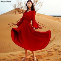 Khlee Yose Vintge Bombo MXI Elbiseler Bahar Utumn Holidy Kadınlar için Elbiseler Uzun Kollu V-Boyun Ldies Uzun Elbise Oymak