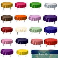 1 unids 145 cm de satén redondo mantel cubierta de mesa de color sólido de tela de mesa para cumpleaños de navidad fiesta de bodas decoración del hotel