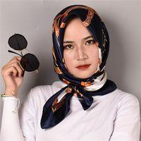 Schals Frauen Seidenschal Mode Blume Druck Square Kopf Dame Tücher Foulard Satin Hijab 90 * 90 cm