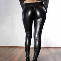 Women's Pants & Capris Casual Skinny Pencil Women Plus Sizes PU Leather Elastic Waist Hip Push Up Black Sexy Female Leggings