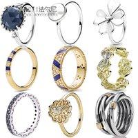 2020 Fashion Trend Top Argent Sterling Sterling Glamour Diamond Butterfly Bandes Cristal Bleu Gouttes Clover Black Stone Bague Livraison Gratuite