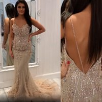 2021 Sexy Champagne Arabic Prom Dresses Mermaid Spaghetti Straps Luxurious Crystal Beads Hand Made Flowers Party Dress Open Back Evening Gowns Wear Sweep Train