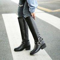 YMEKİK 2018 Kış Peluş Blcak Kahverengi Bayan Ayakkabı Toka Düşük Tıknaz Topuk Orta Buzağı Yüksek Uzun Şövalye Çizmeler Kadın Botas Artı Boyutu J43U #