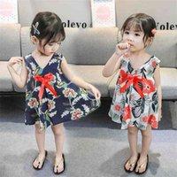 봄과 여름 한국어 어린이 여름 민소매 소녀 '공주 드레스 패션 플로랄 인쇄 활 유아용 아기 비치 여행 드레스 선물 G86WSDJ