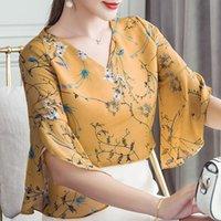 Şerit Balığı Kadın Yaz Tarzı Çiçek Baskılı Bluzlar Gömlek Lady Rahat Kısa Flare Kollu Papyon V Yaka Blusas DD1504 210225