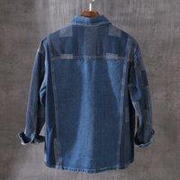 الرجال القمصان قسم رقيقة طويلة الأكمام الخريف قمم الرجل الياباني جين القمصان من واحد خمر الصدر بألوان فضفاضة الألوان صالح q6fd عارضة