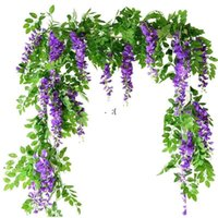 7ft 2m Flower String Artificial Wisteria Vine Garland Plants Foliage Outdoor Home Trailing Flower Fake Hanging Wall Decor RRF10883