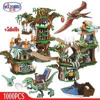 In vendita 1000pcs Dinosaur Tree House Building Blocks Giurassico World Park Figures Bricks Sets Giocattoli per bambini Regali