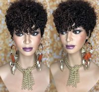 Short Kinky Curly Wig Natural Black Color Brazilian Human Hair Remy Bob Wigs for American Women 150 Density Daily