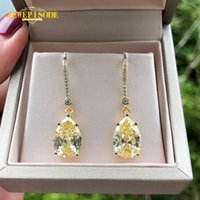 Other Jewepisode 18K Gold Color 9x13MM Citrine Diamond Drop Earrings For Women Wedding Party Fine Jewelry Birthday Gifts