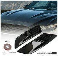 2pc Fibre de carbone Look Auto Air Flux d'air Capuche de coupe Couverture de bouclage Couverture universelle