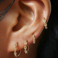 Punk cor ouro link link corrente aro brinco para mulheres moda pequena rodada círculo fino huggie brincos de jóias acessórios