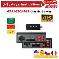 4K Видеоигра Консоли Mini Беспроводной контроллер Построен в 568/620/621 Классический ретро игровой консоль Dual Players AV / HDMI-совместимый H0828