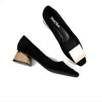 Kontrol Ekose Sivri Burun Ofis Kariyer Kadınlar Siyah Kadın Moda Tıknaz Yüksek Topuklu Ayakkabı Zarif Bayanlar Resmi Giyim 210610 CW6W