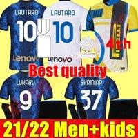 Inter Milan Soccer Jersey Lukaku Vidal Lautaro Eriksen Alexis Hakimi 21 22 Camisa de Futebol 2021 2022 Uniformes Homens adultos + Kit Kids Juventude 4º Quarto