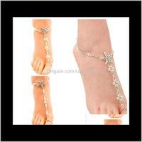 Anklets Beach Jewelry White Elastic Sea Star Star Pearls Tobillo Boda Aessorias Cadena de pie Sandalias descalzas Desarte 2021 T87TM
