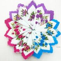 Lenço de lenço Cores Crescent Impresso Handkerchief Algodão Floral Hankie Flor Bordado Handkerchief Colorido Toalhas de Bolso Hwe5015