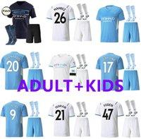 Kits para adultos Manchester Soccer Jerseys 22 22 Grealish City Sterling Ferran de Bruyne Foden 2021 2022 Camisetas de fútbol Hombres + Kit Kit Sets Uniformes