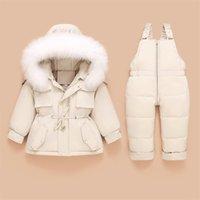 Children Down Coat Jacket+jumpsuit Kids forToddler baby Girls Boys Clothes Winter snow Outfit Suit Warm Clothing 2pcs Sets 211021
