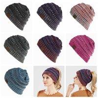 Women CC Ponytail Crochet Knit Beanie Hat Winter Skullies Beanies Warm Cap Female Knitted Hats Ladies Sports Ponytail hats 7 Colors 20pcs