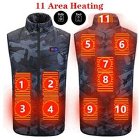 Men's Vests Winter 11 Areas Heated Camouflage Vest Men Keep Warm USB Electric Heating Jacket Thermal Waistcoat Hunting Outdoor