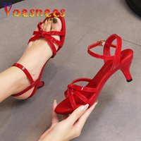 Sandals Voesnees 2021 Summer Fashion Design Knotted Shoelace Women Strange High Heels Ladies Open Toe Pumps Shoes