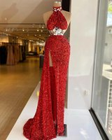 Red Mermaid Long Evening Dresses 2021 Designed Crystals Sleeveless High Slit Sparkly Sequin Backless Party Dress Formal Gowns