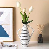 Керамическая ваза окрашенная абстрактная геометрическая цветочная композиция керамические ремесленные украшения цветка ваза современное украшение дома