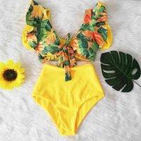 Women's Swimwear Floral Ruffled Hem Bikini Set Women Flora V-neck High-waisted Two Piece Swimsuit Girl Beach Bathing Suit Biquinis
