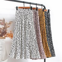 Croysier Mujeres gasa falda plisada elástica de alta cintura de verano Faldas de verano Impresión para mujer Casual MIDI Falda larga Media Longitud de la pantorrilla 210315