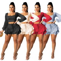 Fashion Long Sleeve Women Tracksuits Two Piece Sets Solid Color Party Outfits Crop Tops Ruffle Shorts Spring Autumn Clubwear Elegant Jogger Suits S-2XL 5566