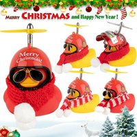 Bike Horns Christmas Gift Car Ornament Duck With Helmet Small Yellow Scarf Standing Airscrew